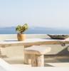 muebles de terraza de madera maciza en color beige